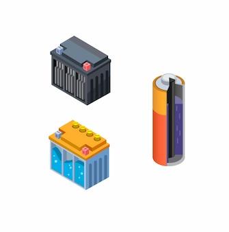 乾電池、accu wet、dry collectionアイコンセットのバッテリー内部ビュー。白い背景で等尺性漫画のコンセプト