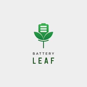 배터리 리프 에코 자연 에너지 재생 간단한 로고 템플릿 벡터 일러스트 레이 션 - 벡터