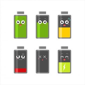 Battery level emoticon icon set