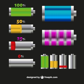 Battery level icons in different colors