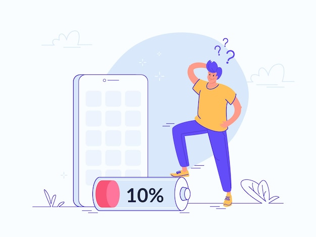 Уведомление о низком заряде батареи на мобильном смартфоне. плоские векторные иллюстрации расстроенного человека, стоящего около 10-процентной батареи и нуждающегося в powerbank для подзарядки своего смартфона. решение проблемы низкого заряда батареи