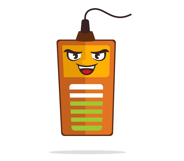 Battery mascot smiling while charging to electricity