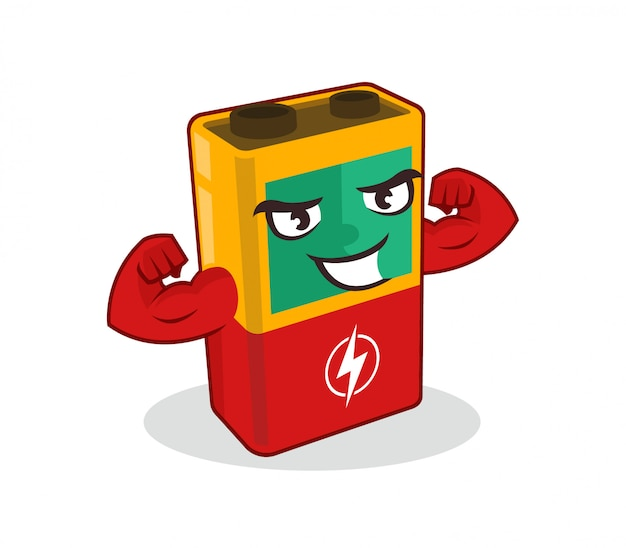 Battery mascot in strong pose