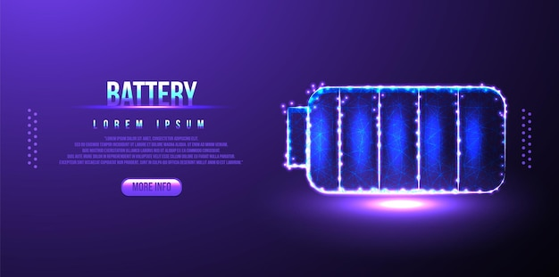 Battery, plug, charging low poly wireframe mesh from polygonal design