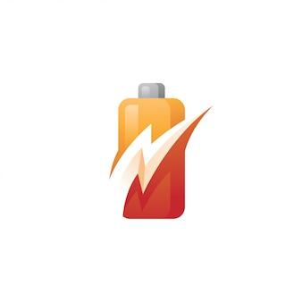 バッテリー電源とフラッシュライトニングボルトのロゴ