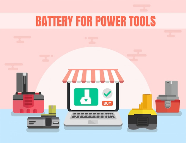 Battery for power tools online shop vector