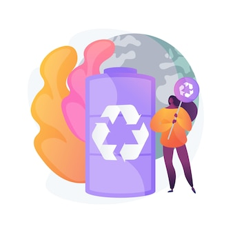 Battery recycling abstract concept illustration