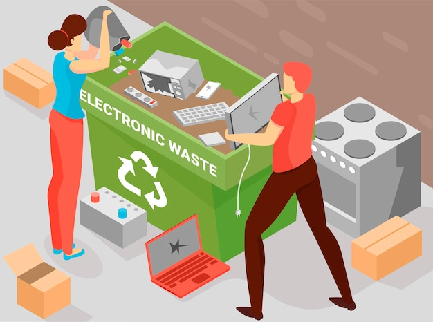 Battery recycling background with electronic waste symbols isometric