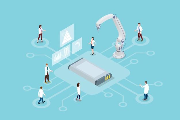 Illustrazione della tecnologia di ricerca della batteria