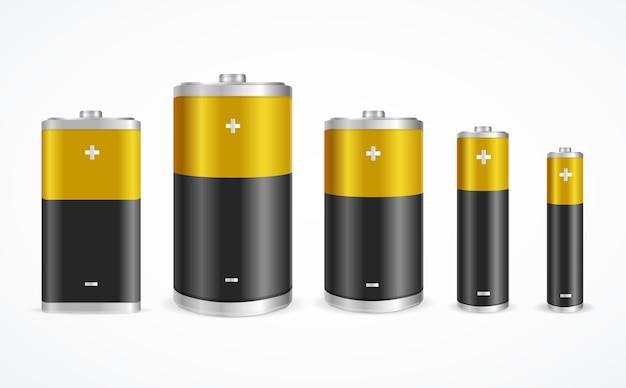Набор батарей разных размеров на белом.