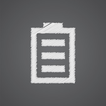 Battery sketch logo doodle icon isolated on dark background