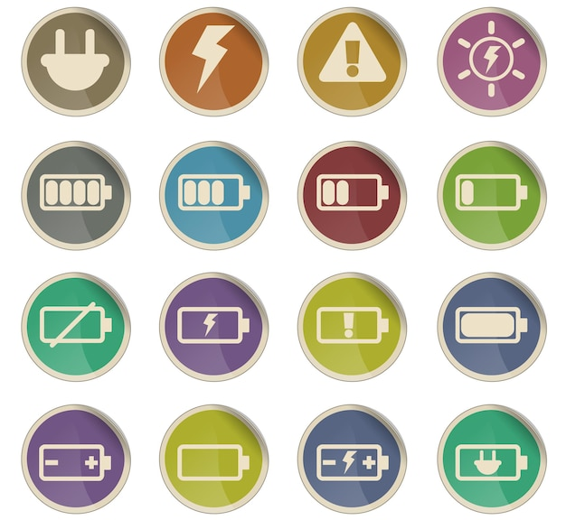 Battery vector icons in the form of round paper labels