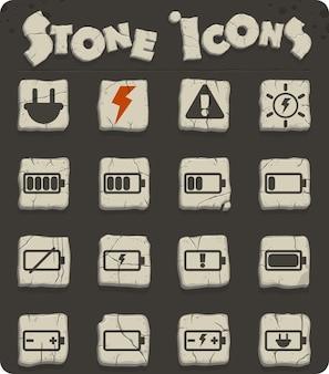 Battery vector icons on stone blocks in the stone age style for web and user interface design
