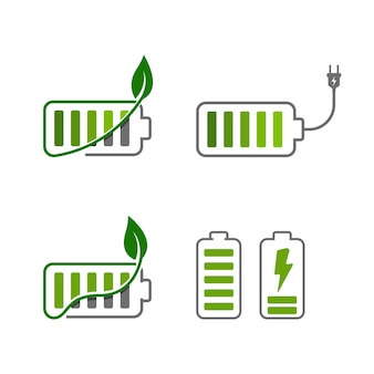 Battery with leaf vector icon design illustration template