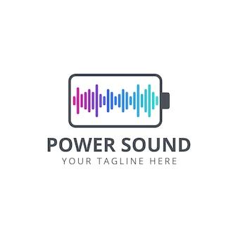 Battery with sound wave logo design inspiration