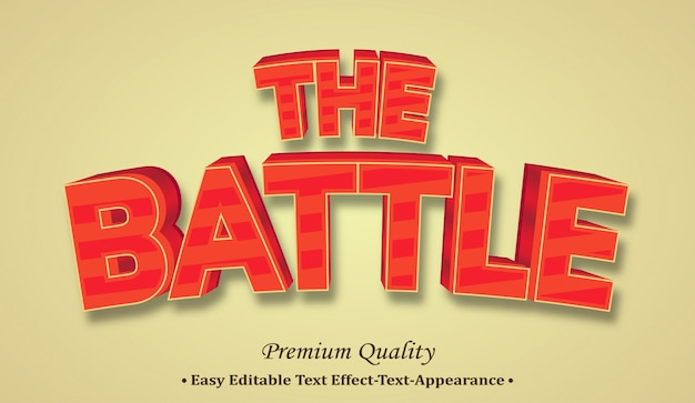 The battle 3d font style effect
