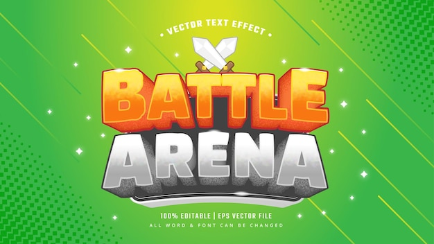 Battle arena video game 3d text style effect. editable illustrator text style.