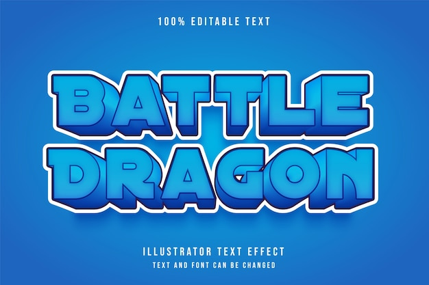 Battle dragon,3d editable text effect blue gradation comic cute style effect