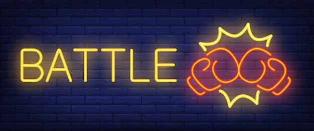 Battle neon text with boxing gloves