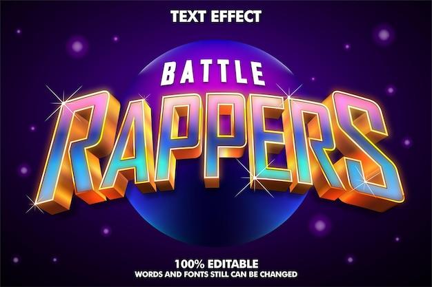Стикер битвы рэпер редактируемый текст элементы дизайна для музыкального фестиваляэффект