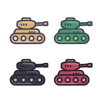 전투 탱크, 윤곽선이 있는 평면 스타일의 아이콘