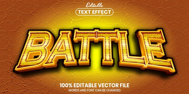 Battle text, font style editable text effect