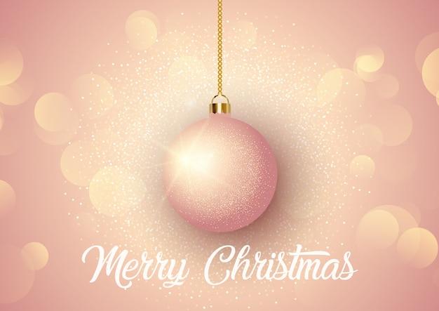 Baubleをぶら下げてローズゴールドのクリスマスの背景