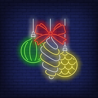 Baubles and bow in neon style