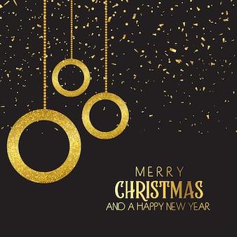 クリスマス、背景、baubles、confetti