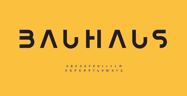 바우하우스 알파벳 문자 글꼴 현대 로고 인쇄술 최소한의 자른된 벡터 인쇄 상의 디자인 컷아웃