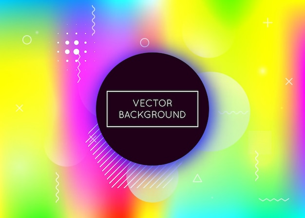 Bauhaus background with liquid shapes. dynamic holographic fluid with gradient memphis elements. graphic template for brochure, banner, wallpaper, mobile screen. multicolor bauhaus background.