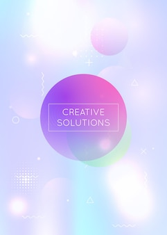 Bauhaus background with liquid shapes. dynamic holographic fluid with gradient memphis elements. graphic template for flyer, ui, magazine, poster, banner and app. hipster bauhaus background.