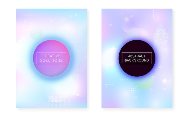 Bauhaus cover set with liquid shapes. dynamic holographic fluid with gradient memphis background. graphic template for placard, presentation, banner, brochure. iridescent bauhaus cover set.