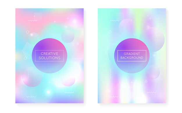 Bauhaus cover set with liquid shapes. dynamic holographic fluid with gradient memphis background. graphic template for placard, presentation, banner, brochure. rainbow bauhaus cover set.