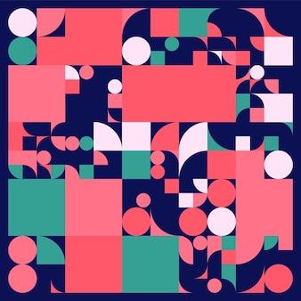 シンプルな形のバウハウスデザインの背景。手続き型幾何学。