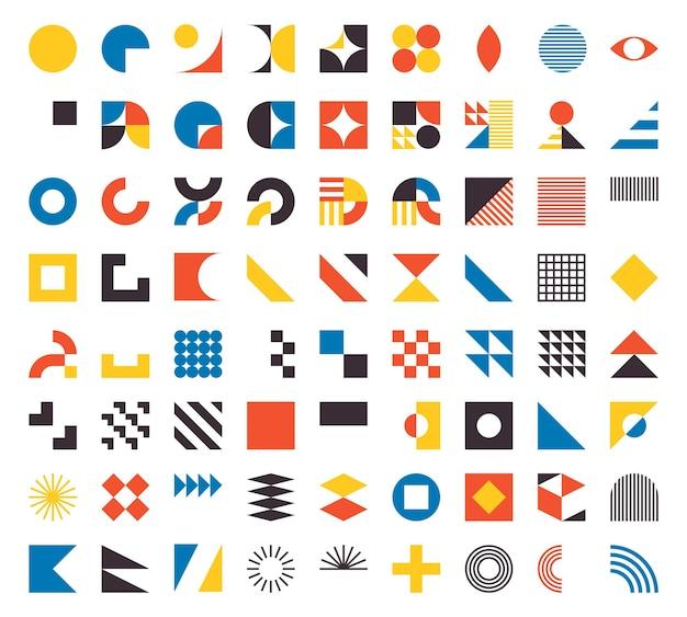 バウハウスの要素。最小限のスタイルでモダンな幾何学的な抽象的な形。ブルータリズムの基本的な形、線、目、円とパターン、アートベクトルセット。カラフルなフィギュアとドットのシンプルなデザイン
