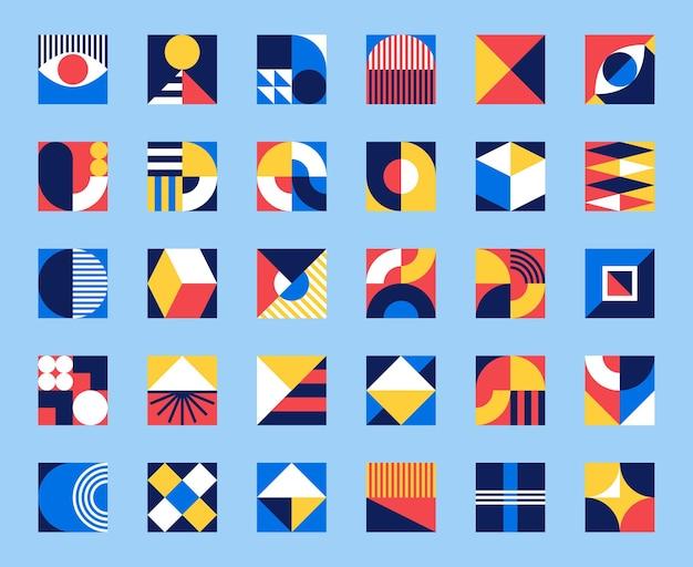 バウハウスが形成されます。抽象的な図や形のモダンな幾何学模様の正方形のタイル。現代的なグラフィックバウハウスデザインベクトルセット。円、三角形、正方形の線画アートコレクション