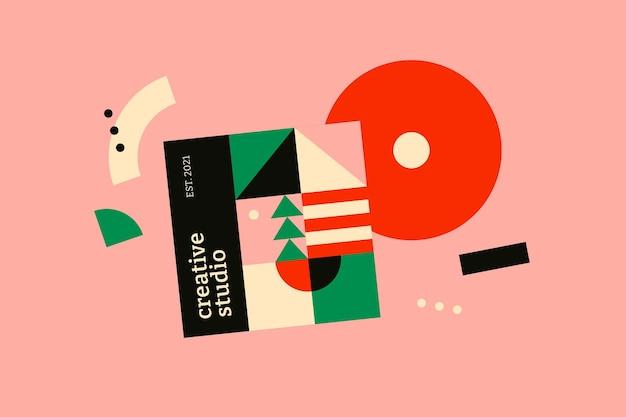 Bauhaus inspired banner flat design