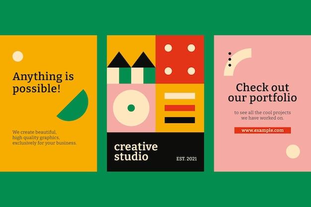 Design piatto per poster ispirato al bauhaus
