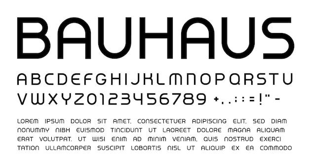 바우하우스 문자와 숫자가 설정되었습니다. 둥근 헤드라인 대문자 현대적인 스타일 벡터 라틴 알파벳입니다. 이벤트, 프로모션, 로고, 배너, 모노그램 및 포스터용 글꼴입니다. 타이포그래피 디자인