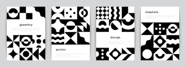 Bauhaus poster. minimal monochrome geometric banners with simple black shapes in swiss style. vector illustration trendy abstract flyers set with graphic architectural modernism composition
