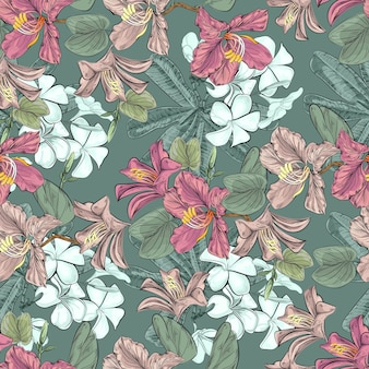 Bauhinia and plumeria flowers seamless pattern