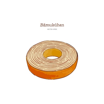 Baumkuchen cake vector illustration