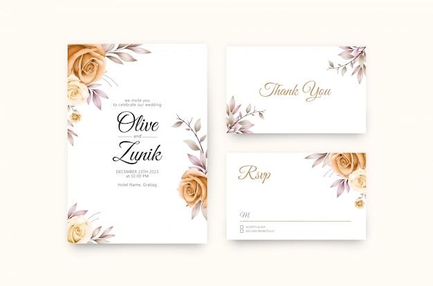 バラ黄色水彩画と名園の花の結婚式の招待状