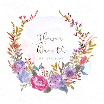 美しいアジサイの花の花輪水彩画