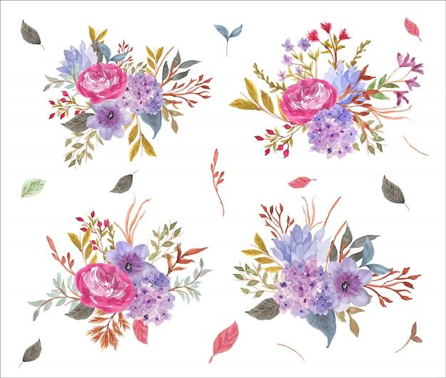 Акварельная коллекция bautiful с цветочной композицией