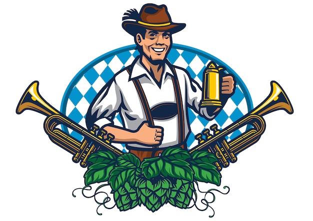 Bavarian man badge design for oktoberfest
