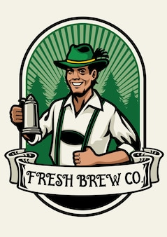 Bavarian man beer brewing badge