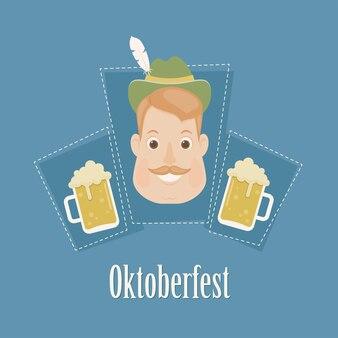 バイエルンの男の頭にビールを2杯。碑文「オクトーバーフェスト」。ポスター、ウォールアートまたはポストカードテンプレート。ベクトルアート