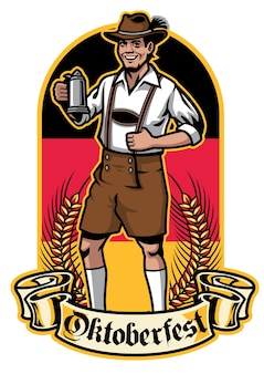 Bavarian man ready to celebrate oktoberfest
